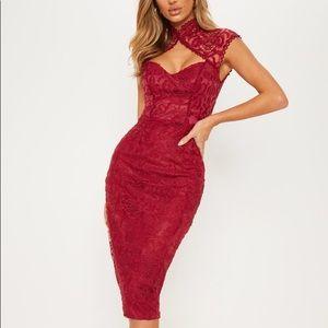 PLT Burgundy Lace High Neck Midi Dress (US size 4)
